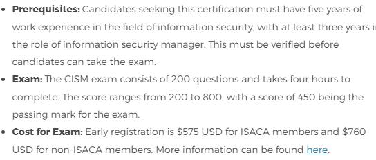 CISM Certification Details
