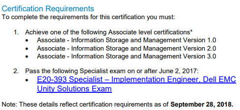 E20-393 Certification Requirements