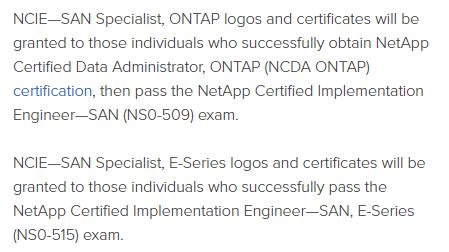 NetApp NCIE-SAN Specialist exams
