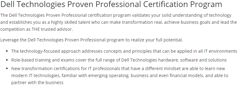 Dell Technologies Certification