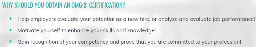 Benefits of OMG Certifications