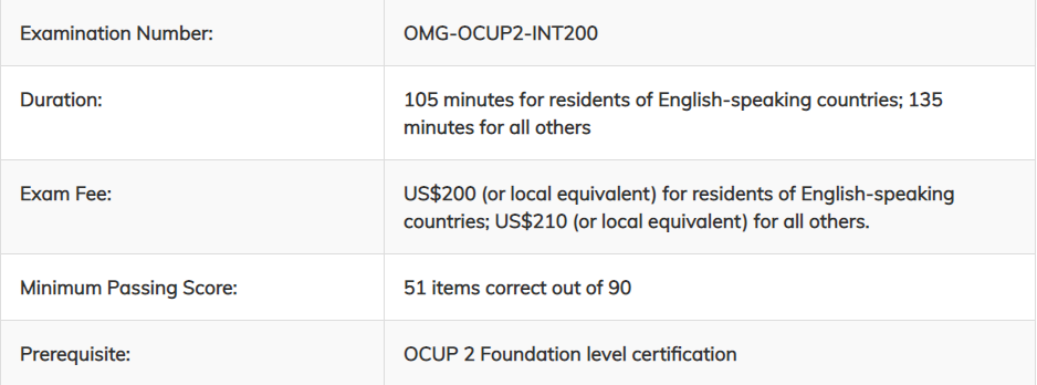 OMG-OCUP2-INT200 Exam Details