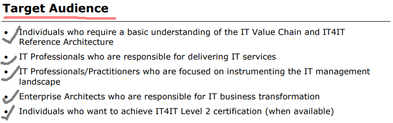 Target Audience of IT4IT Foundation certification