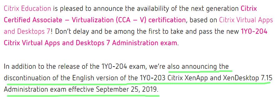 Citrix 1Y0-203 exam is retired