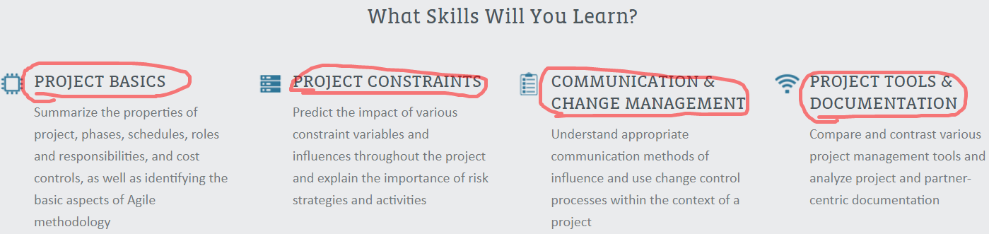 What skills will you learn from CompTIA Project+