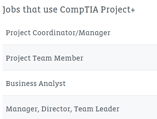 Job that use CompTIA Project+