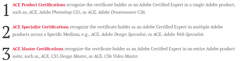 Three levels of ACE certifications