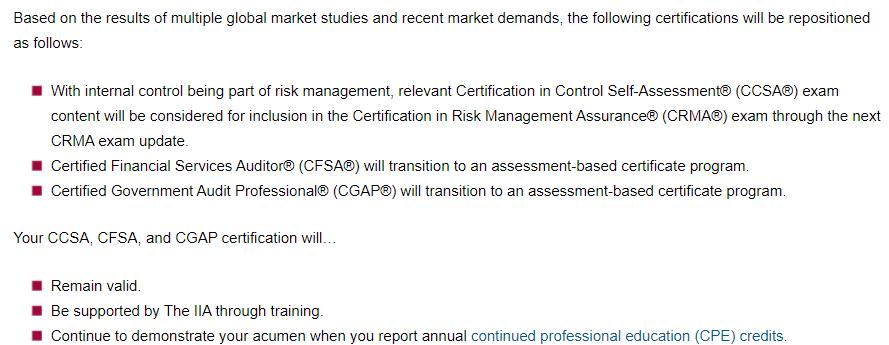 CCSA,CFSA,CGAP Transition
