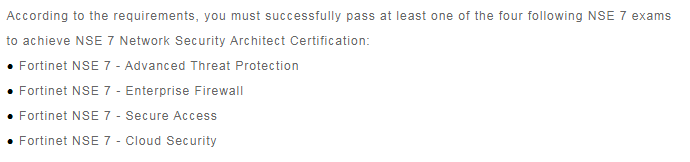 NSE 7 Certification Exams