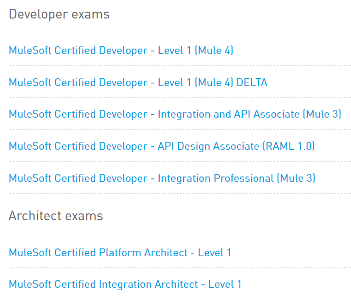 All MuleSoft Certification Exams
