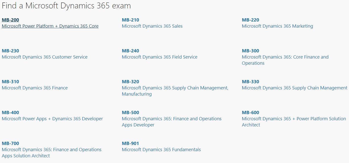 All Microsoft Dynamics 365 Exams