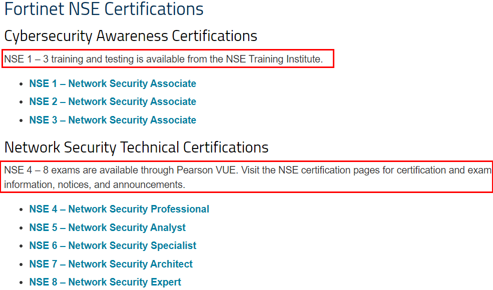 Fortinet NSE Certifications