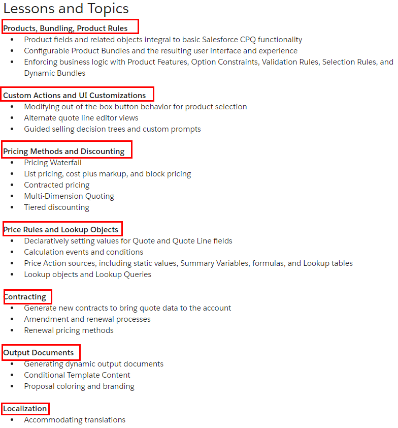 Salesforce CPQ-211 Lessons and Topics