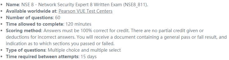 NSE 8 Written Exam NSE8_811 Details
