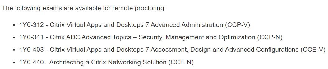 Citrix Exams Are Available For Remote Proctoring