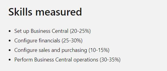 Microsoft MB-800 Skills Measures