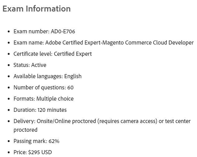 Adobe AD0-E706 Exam Information