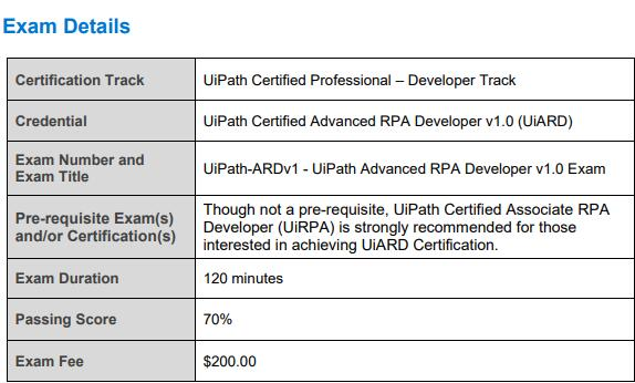 UIPATH-ARDV1 Exam Details