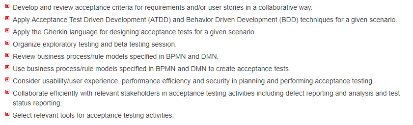 CTFL-AcT Learning Objectives
