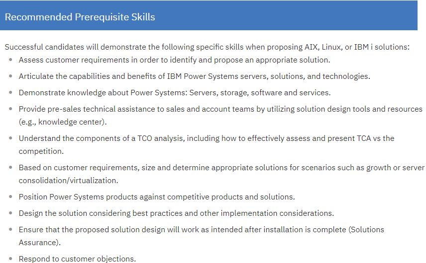 C1000-031 Recommended Prerequisite Skills