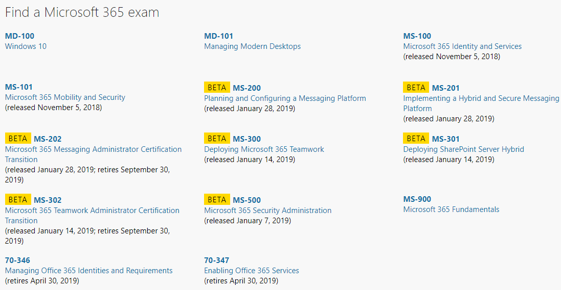 Microsoft 365 Certification Exams